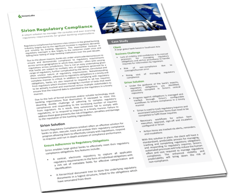 Product Paper - Sirion Regulatory Compliance for Banks